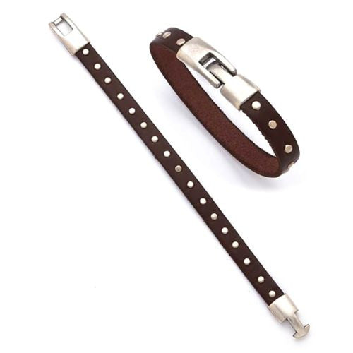 Brown Leather Bracelet with Brushed Stainless Rivets Trades of the East - ILoveThatGift