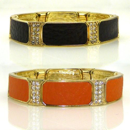 Rhinestone and Leather Stretch Bracelet Brown or Orange by Funky Junque - ILoveThatGift