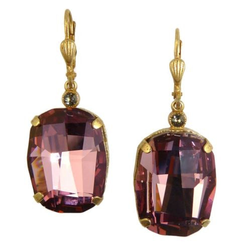 La Vie Parisienne Gold Vintage Rose Large Swarovski Earrings 6546G Catherine Pop - ILoveThatGift