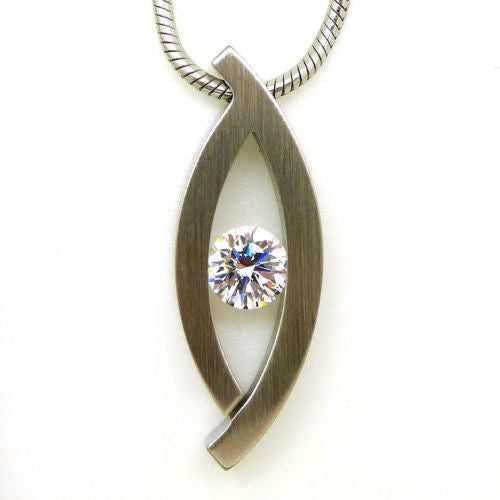 B.Tiff Deziras Pendant Stainless Steel Tension Set with 1.0ct Diamond Cut Round - ILoveThatGift