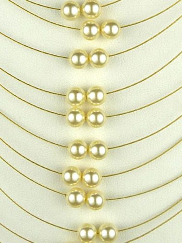 Seasonal Whispers Long Multi-Strand Necklace Gold White Pearls 8264 - ILoveThatGift