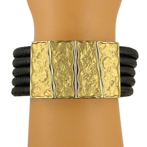 Nanni 18 K Gold Plated Rectangular Bar Bracelet on Black Cord Texture Collection - ILoveThatGift