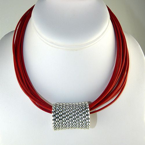 "Simon Sebbag Leather Necklace Red Poppy Add Sterling Silver Slide 17"" - ILoveThatGift"