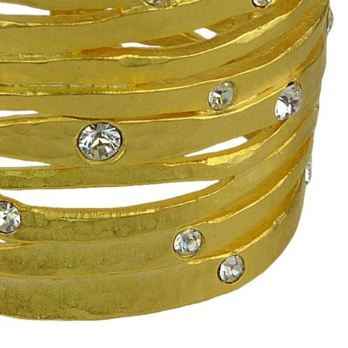 Kenneth Jay Lane Satin Gold Crystal Wavy Cutout Cuff Bracelet KJL - ILoveThatGift