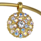 Mariana Guardian Angel Crystal Charm Bangle Bracelet Matte Gold 001AB Clear AB - ILoveThatGift