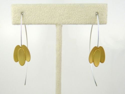 "Handmade Sterling Silver Goldplated or Oxidized 3 Petal Earrings 2.25"" Mysterium - ILoveThatGift"