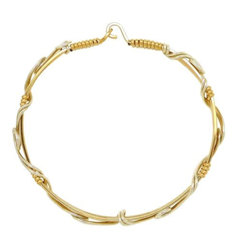 Ronaldo New Beginnings 796 Bracelet Silver with 14K Gold  Artist Wire Sculpture - ILoveThatGift