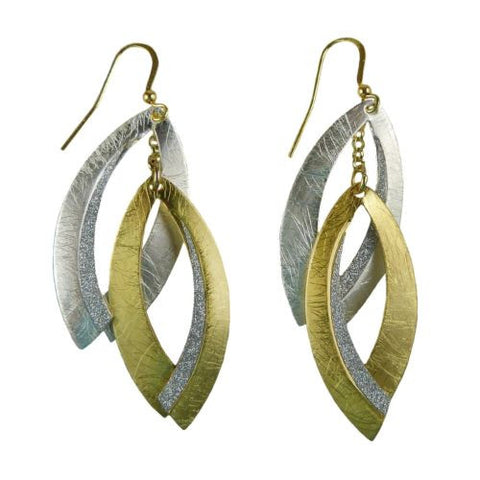 Gold tone Silver Sparkle Abstract Double Earrings RUSH Denis Charles - ILoveThatGift