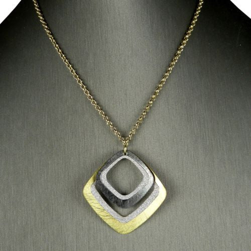 Gold tone Silver Sparkle Gunmetal Double Diamond Necklace RUSH Denis Charles - ILoveThatGift