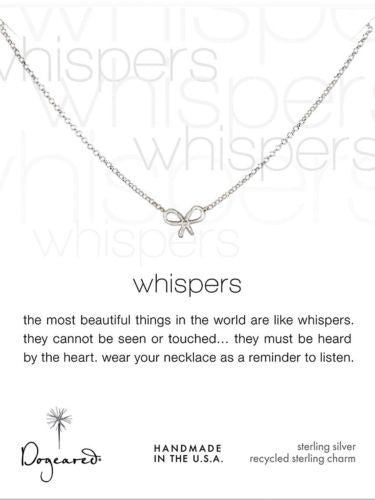 "Dogeared Whispers Bow Necklace 18"" Sterling Silver - ILoveThatGift"
