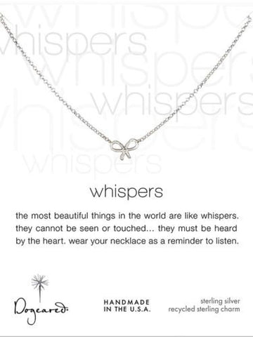 "Dogeared Whispers Bow Necklace 18"" Sterling Silver"