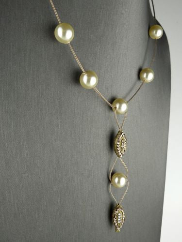 Seasonal Whispers Drop Necklace Rose Gold White Pearls Swarovski Crystals 8232 - ILoveThatGift