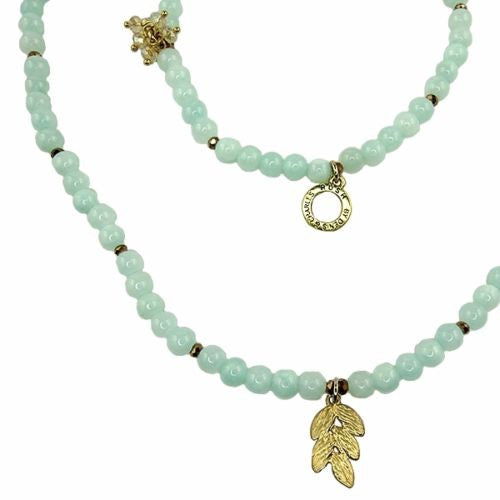 Pale Blue Gold toned Round Bead Necklace by RUSH Denis Charles Leaf Flower - ILoveThatGift