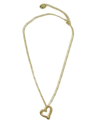 Uptown Girls Satin Gold Chain Heart Necklace 03137G Chelsea - ILoveThatGift