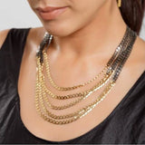24K Gold Plated Black 5 Flat Curb Chain Necklace Hagar Satat Handmade - ILoveThatGift