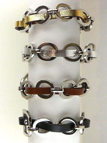 D and O Ring Chain Link Leather Bracelet by Rush wear with CC Skye - ILoveThatGift