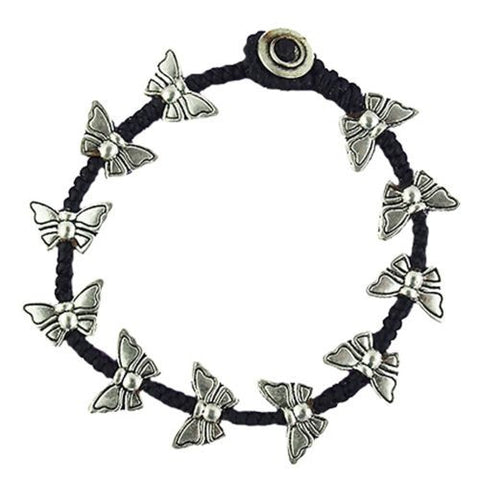 Butterfly Bead Bracelet by Marah Silver Alloy Black Cotton - ILoveThatGift