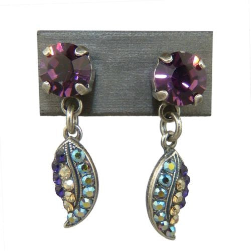 Mariana Handmade Swarovski Leaf Earrings E1143 1030 Topaz Amethyst Crystal AB - ILoveThatGift