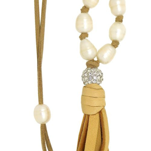 Gigi & Sugar Pearl Deerskin White Pearl Pave Ball Necklace Lariat Ella Natural - ILoveThatGift