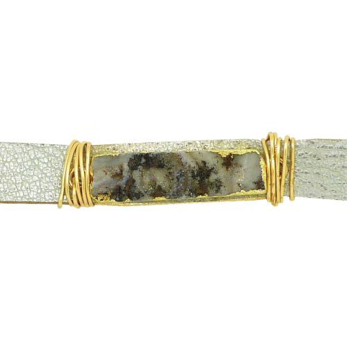 Gigi & Sugar Silver Leather White Gray Druzy Gold Wire Snap Bracelet Handmade - ILoveThatGift