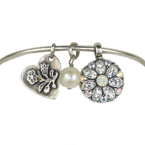 Mariana Guardian Angel Crystal Charm Bangle Bracelet 001 Clear Opal - ILoveThatGift