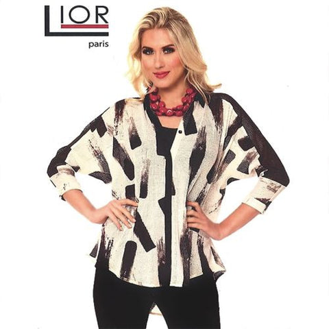 Lior Paris Black White Open Weave Outer Blouse Light Jacket Belted Back S L