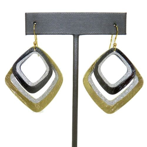 Gold tone Silver Sparkle Rounded Square Double Earrings RUSH Denis Charles - ILoveThatGift