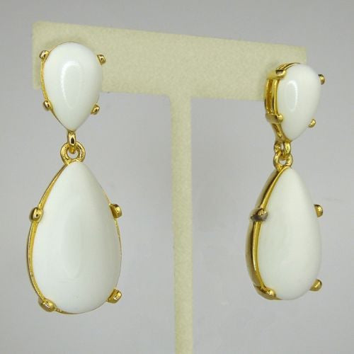 Kenneth Jay Lane White Cabochon 18K Gold Plate Drop Pierced Earrings - ILoveThatGift