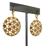 La Vie Parisienne Gold Crystal Round Medallion Pendant Earrings 4458G Black Diam - ILoveThatGift