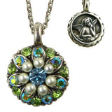 Mariana Guardian Angel Crystal Pendant Necklace 84 Blue Pearl Crystal