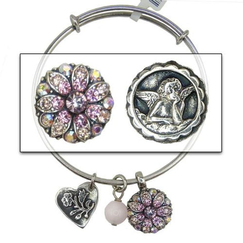 Mariana Guardian Angel Crystal Charm Bangle Bracelet 319 Rose Peach AB Swarovski - ILoveThatGift