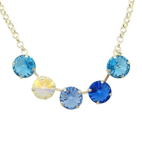 Handmade 5 Swarovski Crystal Pendant Gem Necklace Sky Blue