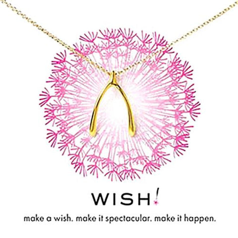 "Dogeared Big Wishbone Necklace 18"" Gold Dipped - ILoveThatGift"