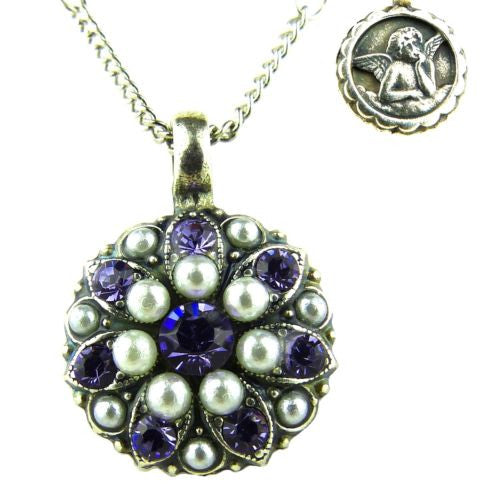 Mariana Guardian Angel Crystal Pendant Necklace 5212 M48539 Violet Pearl - ILoveThatGift