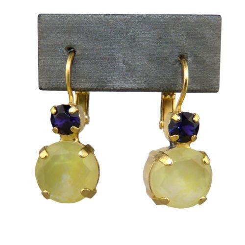 Mariana Handmade Swarovski Large Round Earrings 1037 1032 Gold Yellow Purple - ILoveThatGift