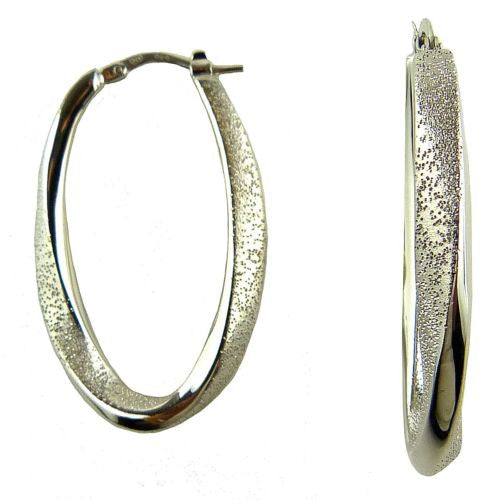 Charles Garnier Celia 35 Sterling Silver Oval Mobius Hoop Earrings Rhodium Const - ILoveThatGift