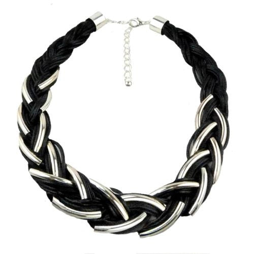 Nanni Silver Plated Detail on Black Braided Cord Necklace - ILoveThatGift