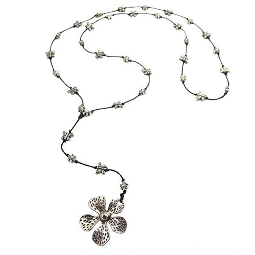 Flower Butterfly Pendant Necklace by Marah Silver Alloy Black Cotton - ILoveThatGift