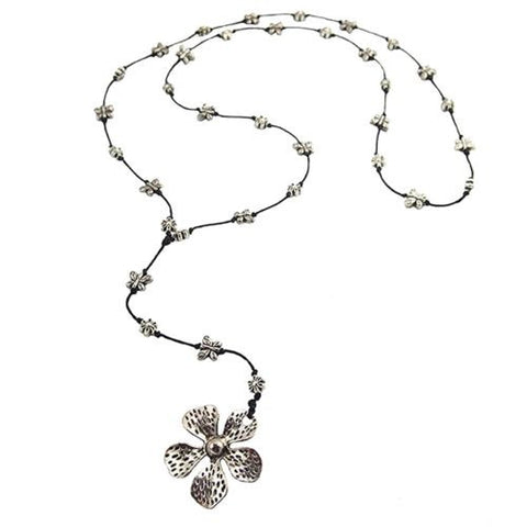 Flower Butterfly Pendant Necklace by Marah Silver Alloy Black Cotton