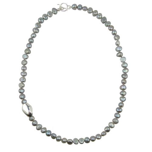 Simon Sebbag Sterling Silver Gray Pearl Beads Toggle Clasp Necklace 24 inches NB102GP24 - ILoveThatGift