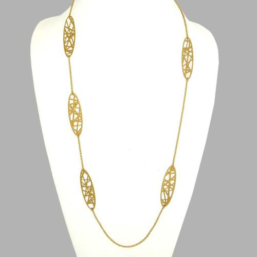 "RAS Gold Plated Laser Cut Crossroad Geometric Necklace 40"" Long 3556 - ILoveThatGift"
