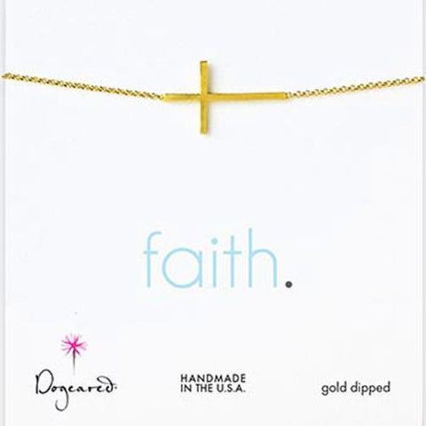 Dogeared Gold Dipped Faith Large Sideways Cross Necklace 18""
