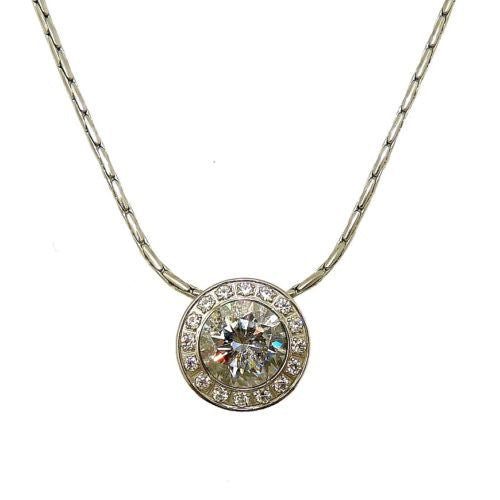 "B.Tiff Swarovski 1 Ct CZ Stainless Steel Pendant Smaller CZ Surround 18"" Chain - ILoveThatGift"