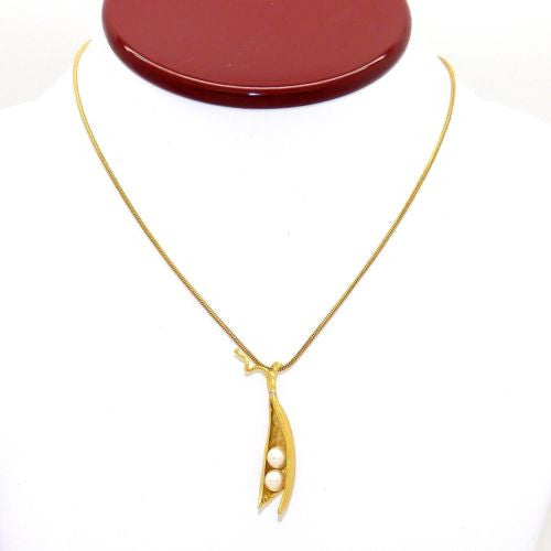 Peas in a Pod Gold Michael Michaud Necklace Two Pearl Peas - ILoveThatGift