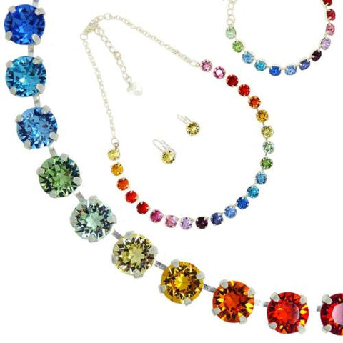 Handmade Swarovski Crystal Necklace Bracelet Earring Set Rainbow