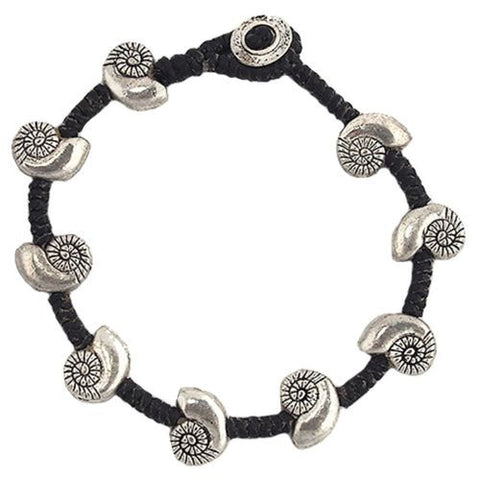 Nautillus Shell Bead Bracelet by Marah Silver Alloy Black Cotton