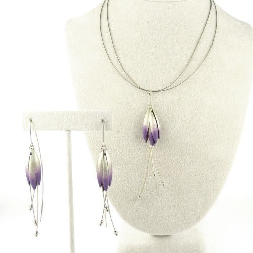 "Handmade Sterling Silver Purple Petal Earrings 3.25"" Mysterium - ILoveThatGift"