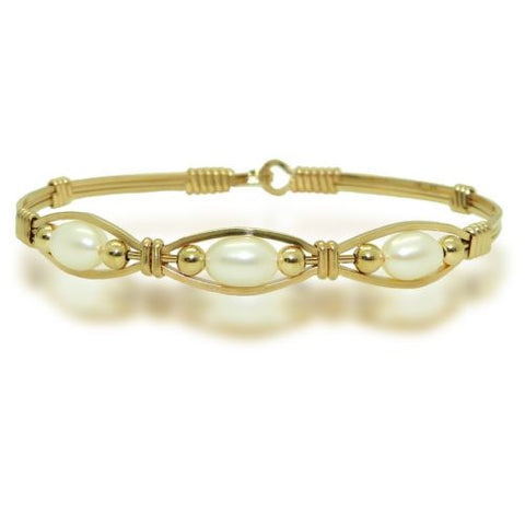 Ronaldo The Bella 513 Bracelet 14K Gold Artist Wire 3 White Pearls - ILoveThatGift