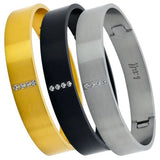 B.Tiff Pavé CZ Crystal Row Stainless Steel Bangle Bracelet Silver Black Gold Sta - ILoveThatGift