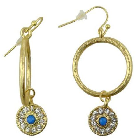 Uptown Girls Blue Rhinestone Gold Evil Eye Earrings 0302316G - ILoveThatGift